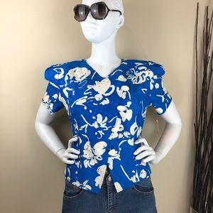 Maggie London ~ Blue w/ Flowers 100% Silk Blouse